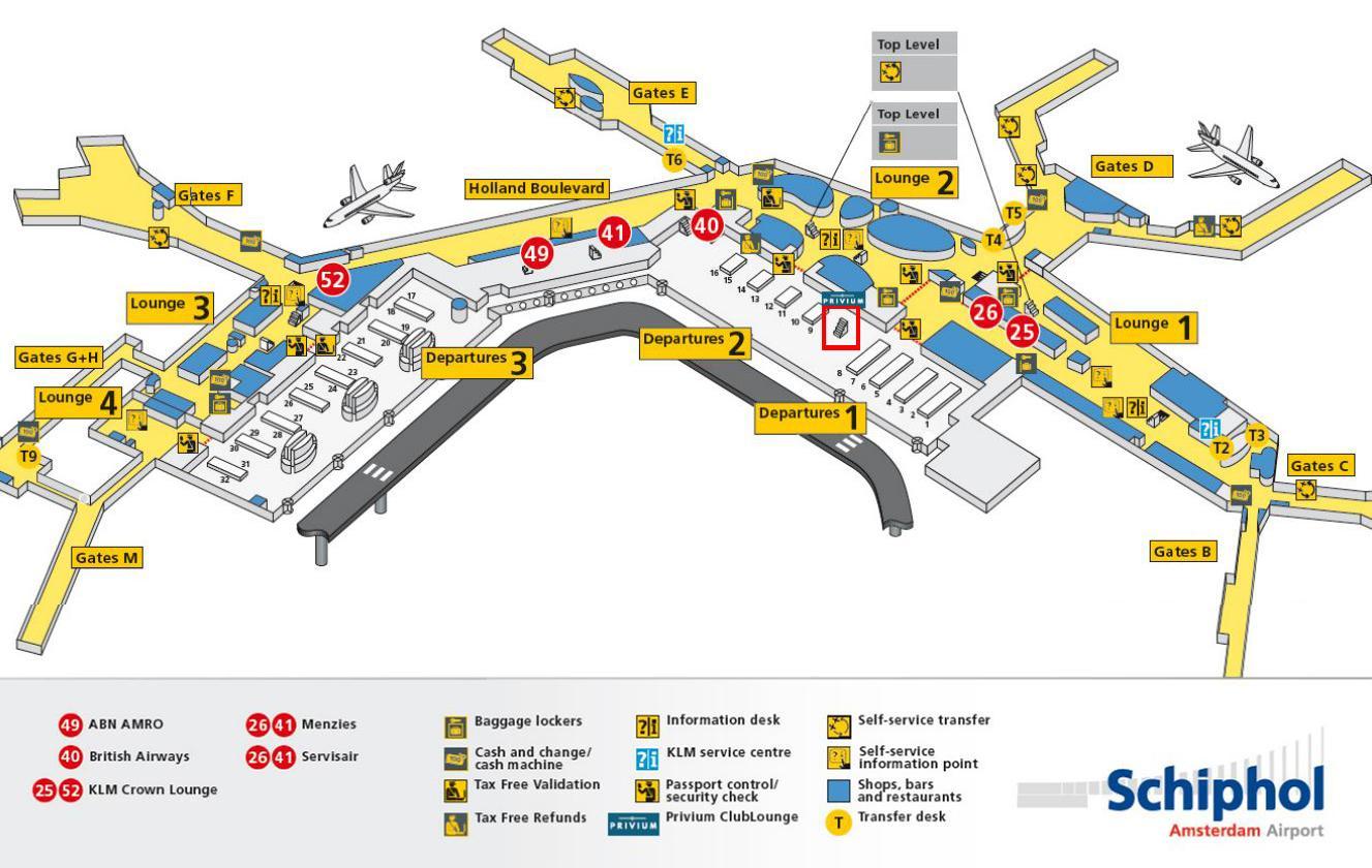 Shiphol Airport Map Amsterdam airport map klm   Schiphol airport map klm (Netherlands)