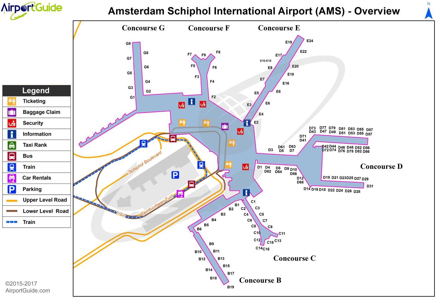 Amsterdam Airport Map Amsterdam airport map   Amsterdam international airport map  Amsterdam Airport Map