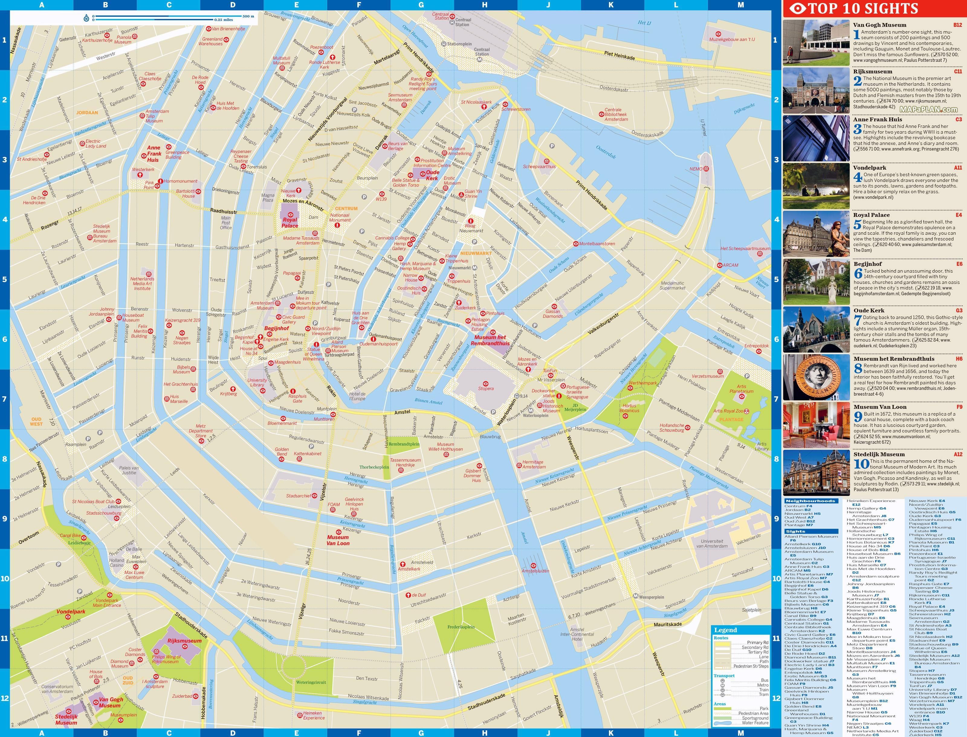 mapa amesterdao Amsterdam sightseeing map   Sightseeing Amsterdam map (Netherlands) mapa amesterdao