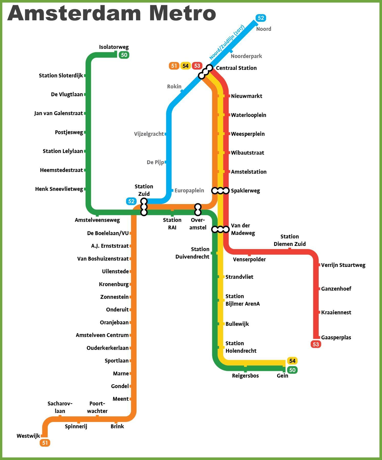 Subway Map Of Amsterdam.Amsterdam Subway Map Amsterdam Underground Map Netherlands