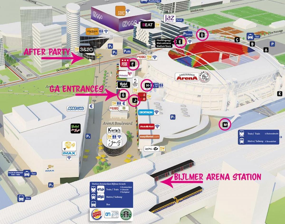 Sede Final Copa Libertadores - Johan Cruyff Arena Amsterdam-arena-map